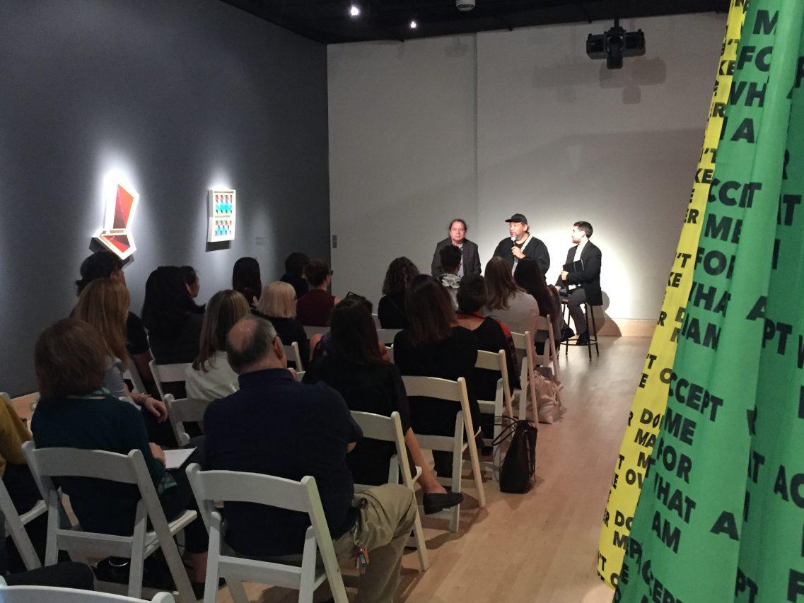 Jeffrey Gibson lecture in the de la Cruz Gallery