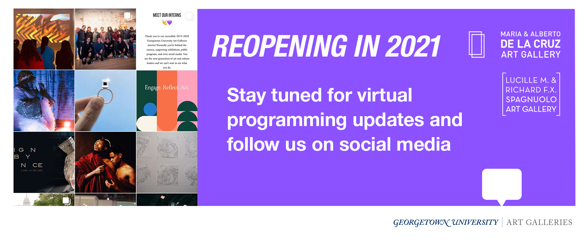 Reopening in 2021 stay tuned for our virtual programming and follow us on social media